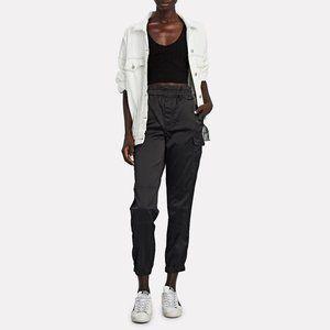 NWT J Brand black satin cargo jogger pants
